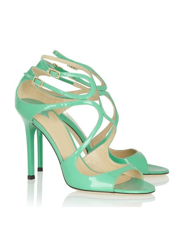 Hot Sale Women Peep Toe Stiletto Heel Patent Leather Buckle Sandals Shoes