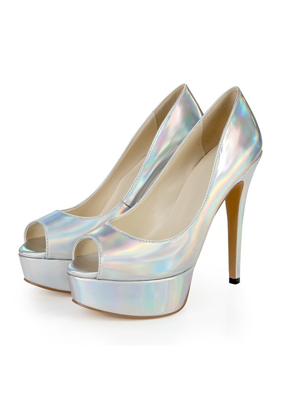 Classical Women Patent Leather Peep Toe Platform Stiletto Heel Silver Wedding Shoes