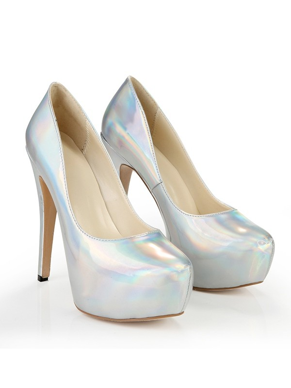 Classical Women Closed Toe Platform Patent Leather Stiletto Heel Silver Wedding Shoes