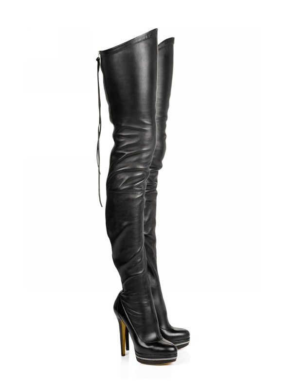 Hot Sale Women Elastic Leather Stiletto Heel Platform Over The Knee Black Boots