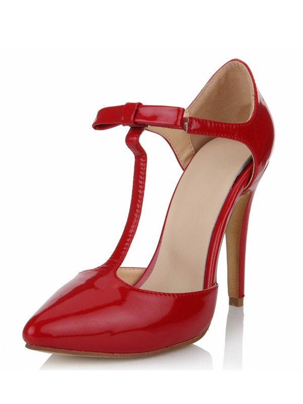 Stylish Women Patent Leather Stiletto Heel Closed Toe T-Strap High Heels