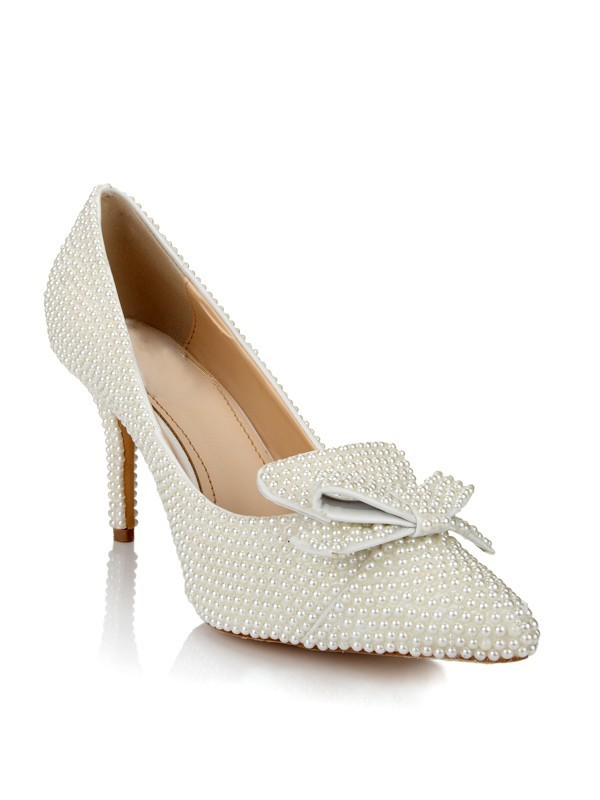 Classical Women Patent Leather Stiletto Heel Closed Toe Pearl White Wedding Shoes