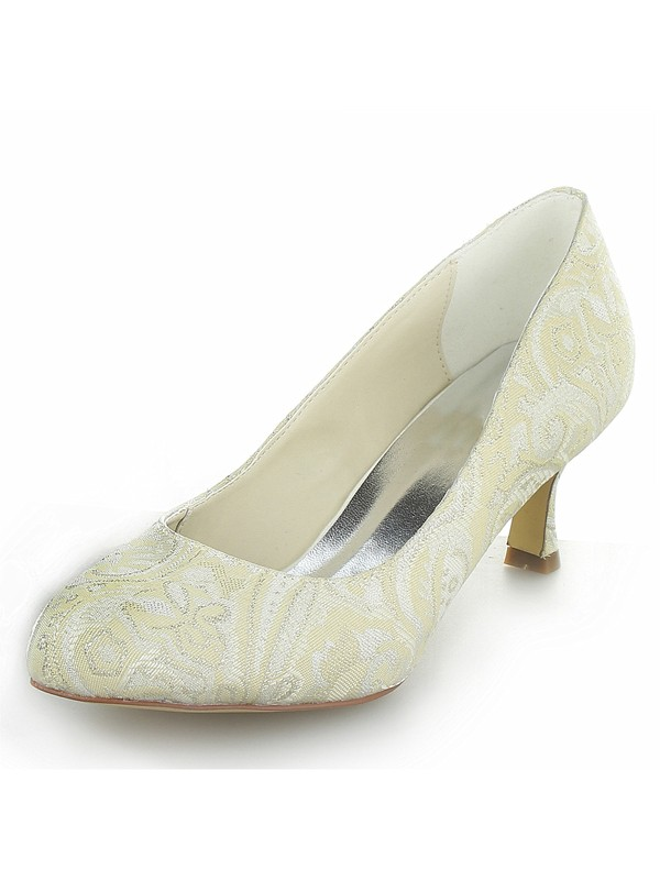 Stylish Women Satin PU Closed Toe Spool Heel Wedding Shoes