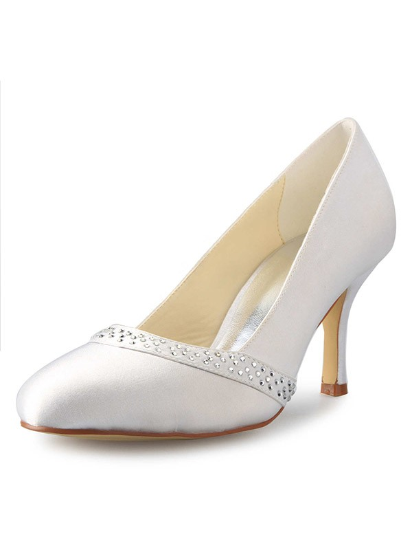 Classical Women Stiletto Heel Closed Toe Satin White Wedding Shoes
