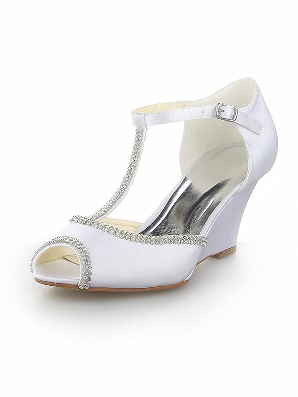 Classical Women Peep Toe T-Strap Satin Wedge Heel White Wedding Shoes