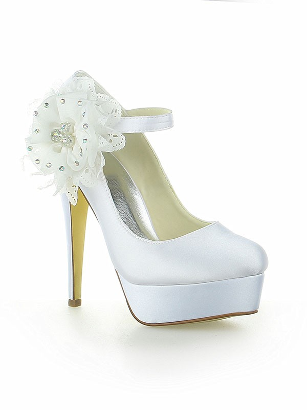 Classical Women Satin Platform Closed Toe Flower Stiletto Heel White Wedding Shoes