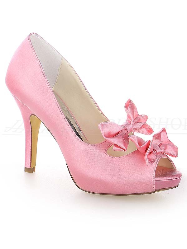 Classical Women Satin Peep Toe Stiletto Heel Platform Watermelon Wedding Shoes