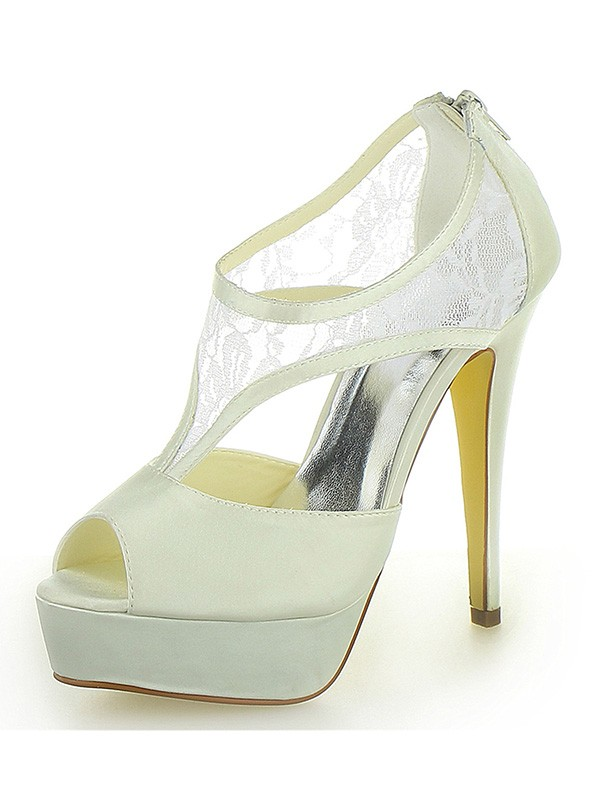 Classical Women Stiletto Heel Satin Platform Peep Toe Zipper Ivory Wedding Shoes