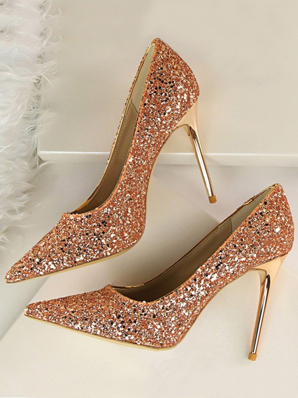 New Women Girls Sparkling Glitter Stiletto Heel Closed Toe High Heels