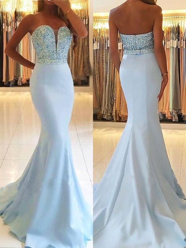 Elegant Mermaid Sleeveless Sweetheart Sweep/Brush Train Satin Dress