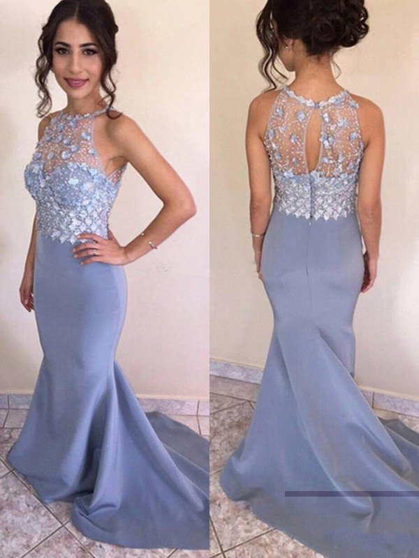 Gorgeous Mermaid Sleeveless Sweep/Brush Train Satin Dress