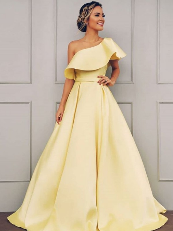 Cheap A-Line Sleeveless One-Shoulder Floor-Length Satin Dress