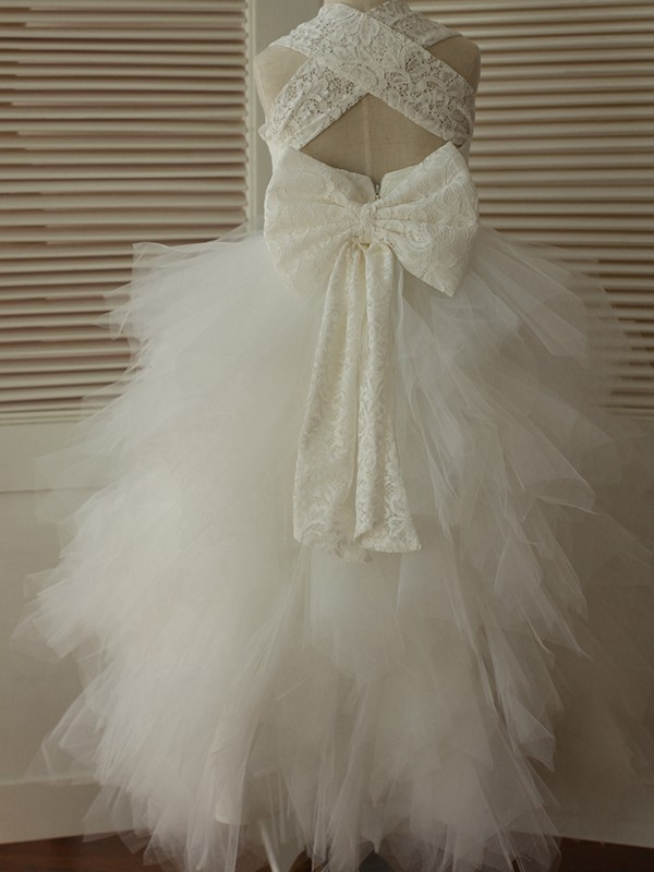 Nice A-Line Ankle-Length Straps Lace Sleeveless Tulle Flower Girl Dress