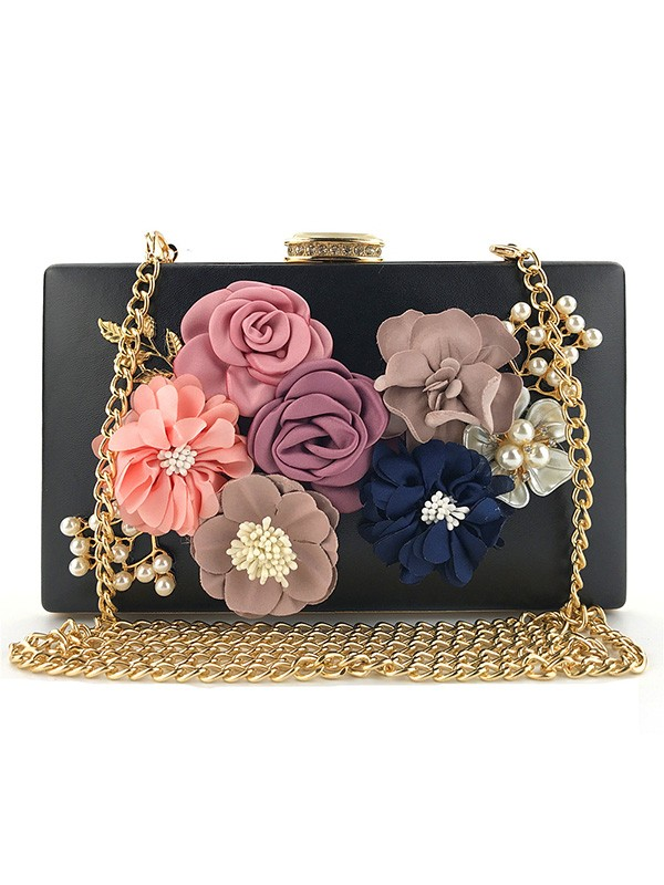 New PU With Flowers Evening/Casual Bag