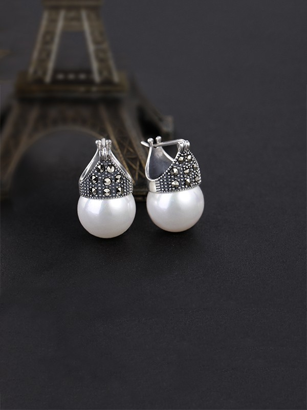 New Hot Sale Silver With Pearl Earrings