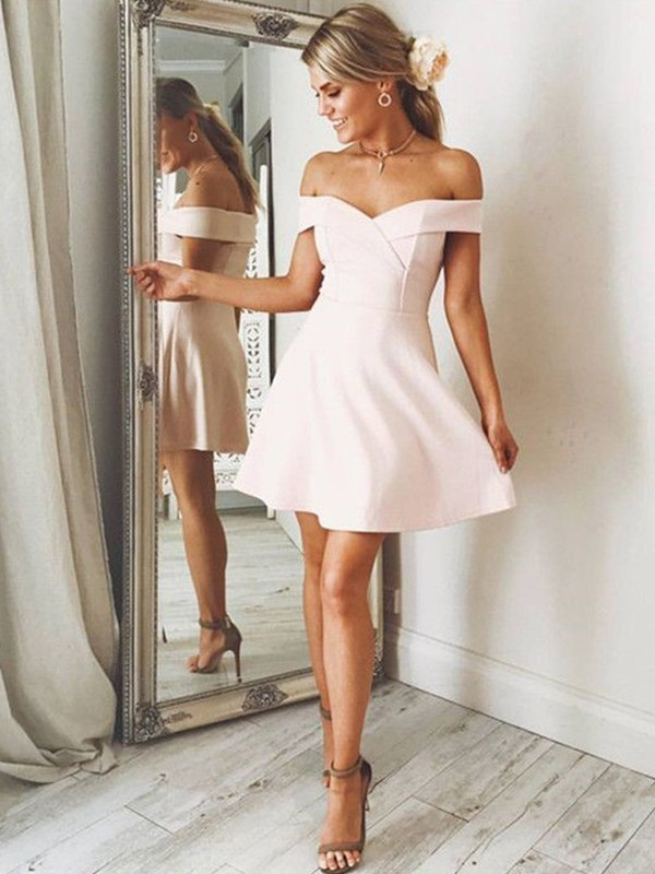 Affordable A-Line Off-the-Shoulder Sleeveless Satin Short/Mini Dress
