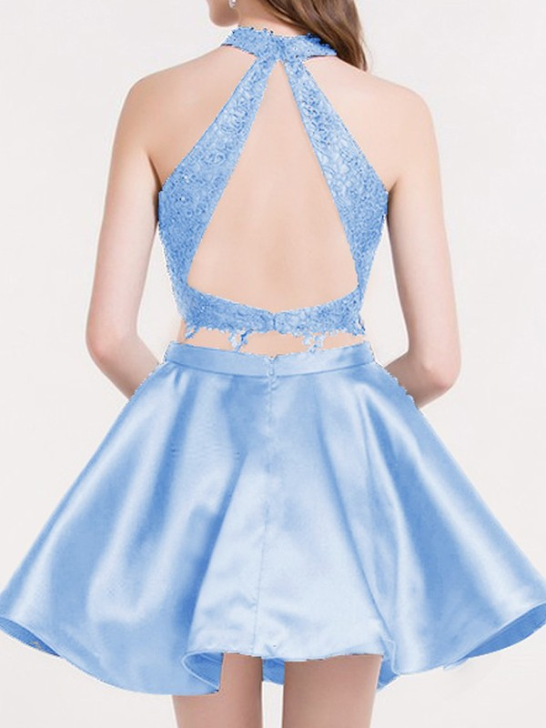 Charming A-Line Satin Lace Sleeveless Halter Short/Mini Two Piece Dress