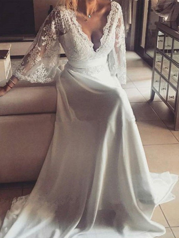 Nice A-Line V-neck Long Sleeves Court Train Lace Wedding Dress