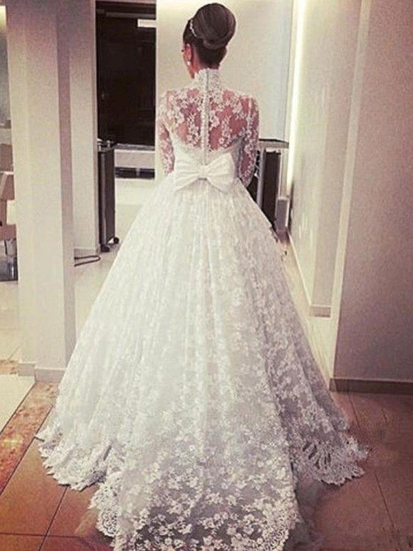 Perfect Ball Gown Long Sleeves High Neck Sweep/Brush Train Lace Wedding Dress