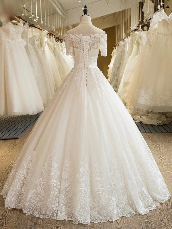 Fashion Ball Gown 1/2 Sleeves Off-the-Shoulder Floor-Length Lace Tulle Wedding Dress