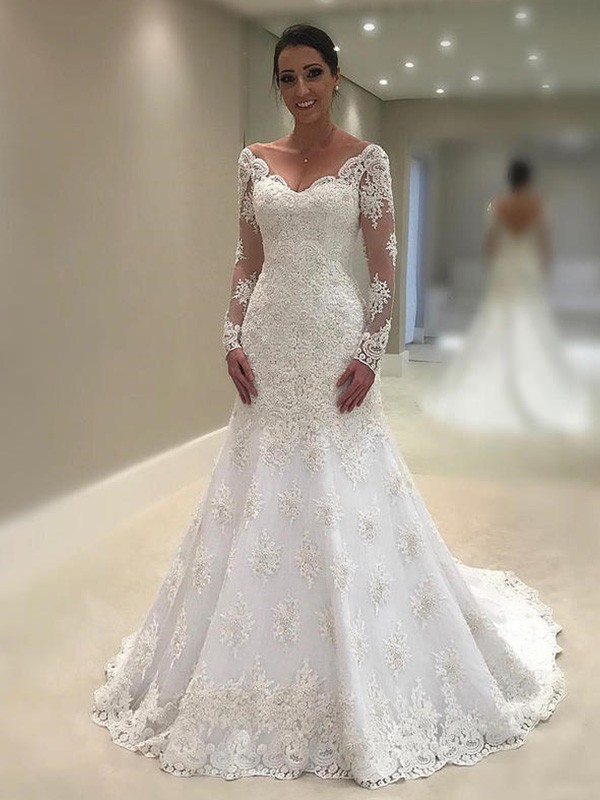 Chic Mermaid Long Sleeves V-neck Court Train Lace Wedding Dress
