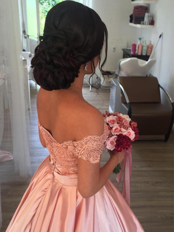 New Ball Gown Sleeveless Off-the-Shoulder Satin Cathedral Train Wedding Dress