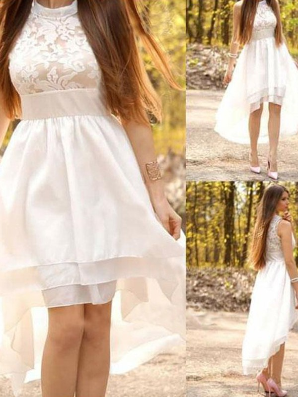 Chic A-Line Chiffon Halter Asymmetrical Sleeveless Wedding Dress
