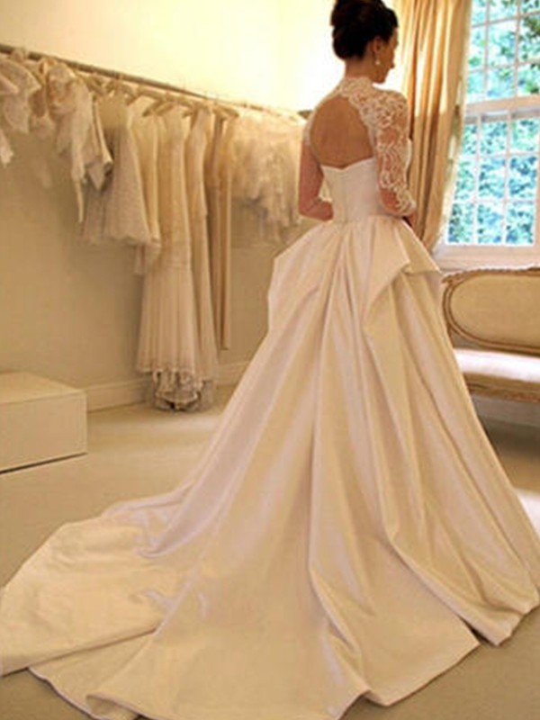 Stunning Ball Gown Satin Lace High Neck Long Sleeves Chapel Train Wedding Dress
