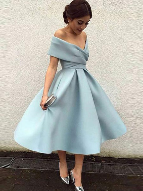 Fashion A-Line Sleeveless Off-the-Shoulder Satin Tea-Length Dress