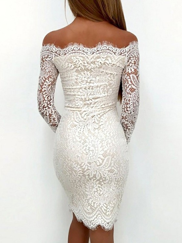 Glamorous Sheath Long Sleeves Off-the-Shoulder Lace Short Dress