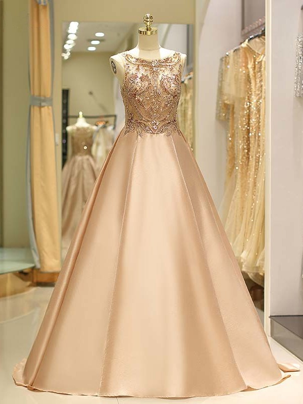 Perfect Ball Gown Sleeveless Bateau Sweep/Brush Train Satin Dress