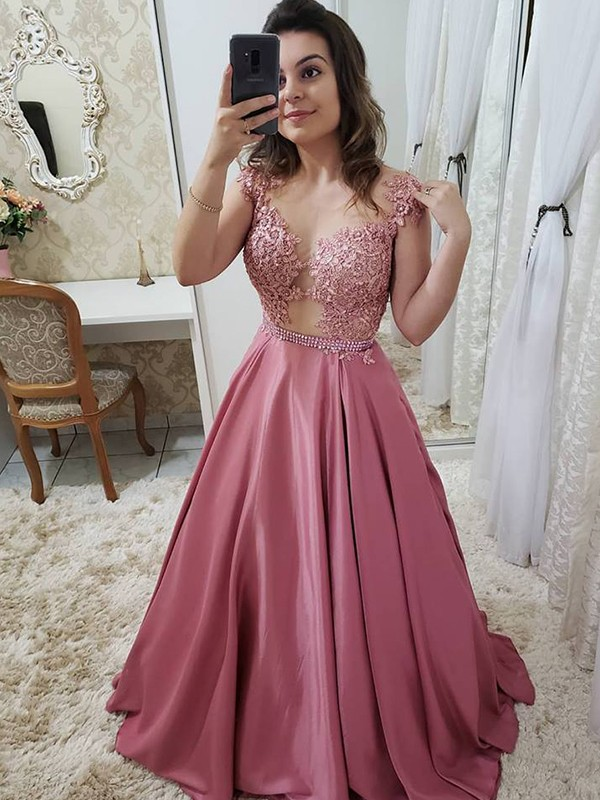 Amazing A-Line Sleeveless Scoop Floor-Length Satin Dress