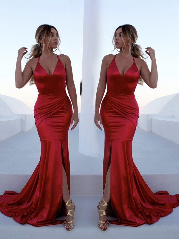 Beautiful Mermaid Sleeveless Halter Sweep/Brush Train Satin Dress