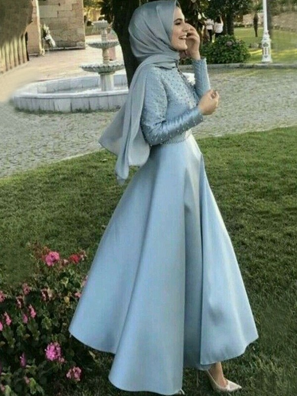 Affordable A-Line Long Sleeves Scoop Floor-Length Satin Muslim Dress