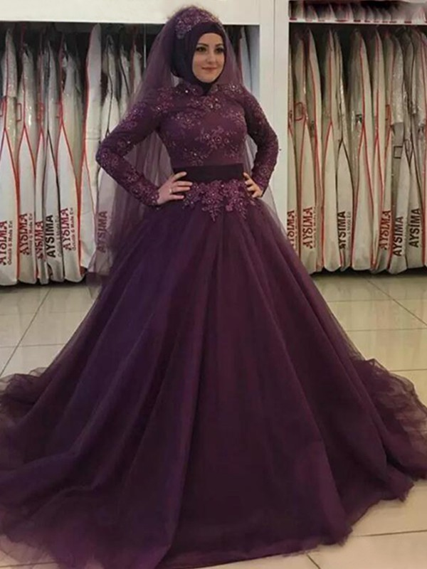Glamorous Ball Gown Long Sleeves High Neck Sweep/Brush Train Tulle Muslim Dress