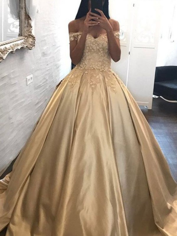 Discount Ball Gown Off-the-Shoulder Sleeveless Sweep/Brush Train Satin Dress