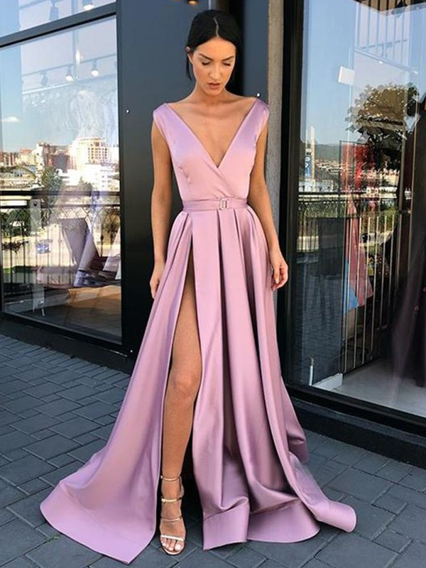 Glamorous A-Line Sleeveless V-neck Floor-Length Satin Dress