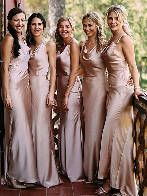 Fashion Sheath Sleeveless V-neck Floor-Length Silk like Satin Bridesmaid Dress