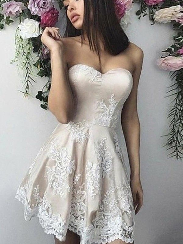 Amazing A-Line Lace Sweetheart Sleeveless Short/Mini Dress