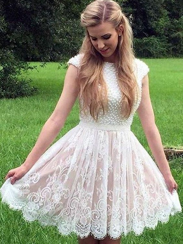 Chic A-Line Lace Pearls Sheer Neck Sleeveless Short/Mini Dress