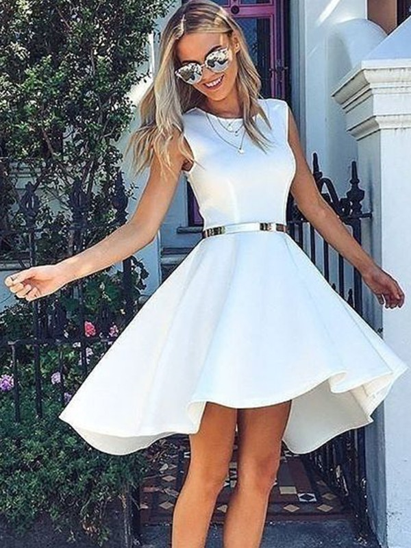 Gorgeous A-Line Satin Scoop Sleeveless Short/Mini Dress