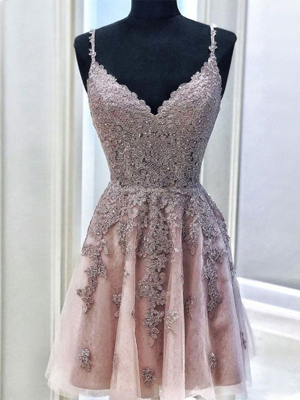 Beautiful A-Line Tulle Spaghetti Straps Sleeveless Short/Mini Homecoming Dress
