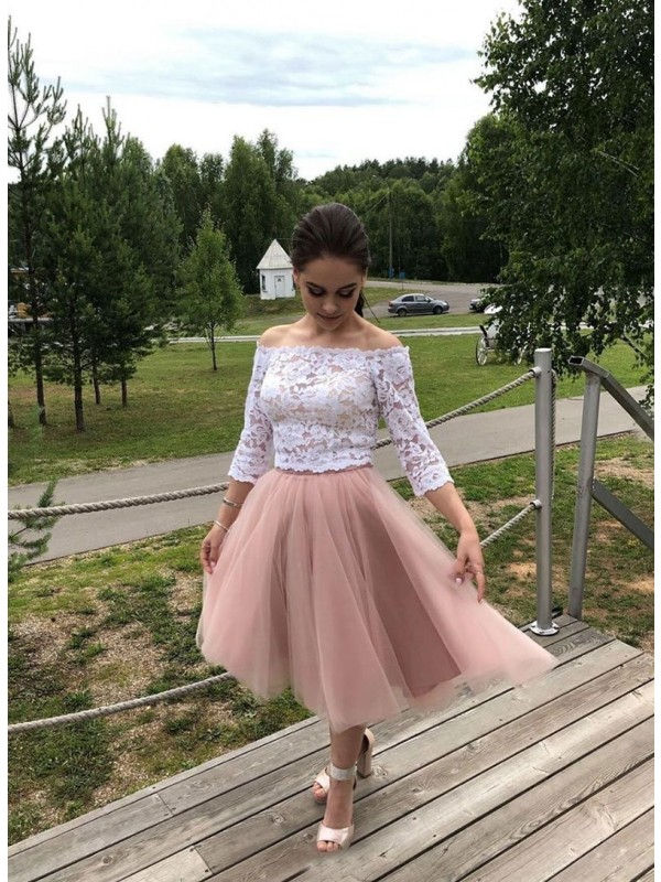 Chic A-Line Tulle Lace Off-the-Shoulder Long Sleeves Tea-Length Homecoming Dress
