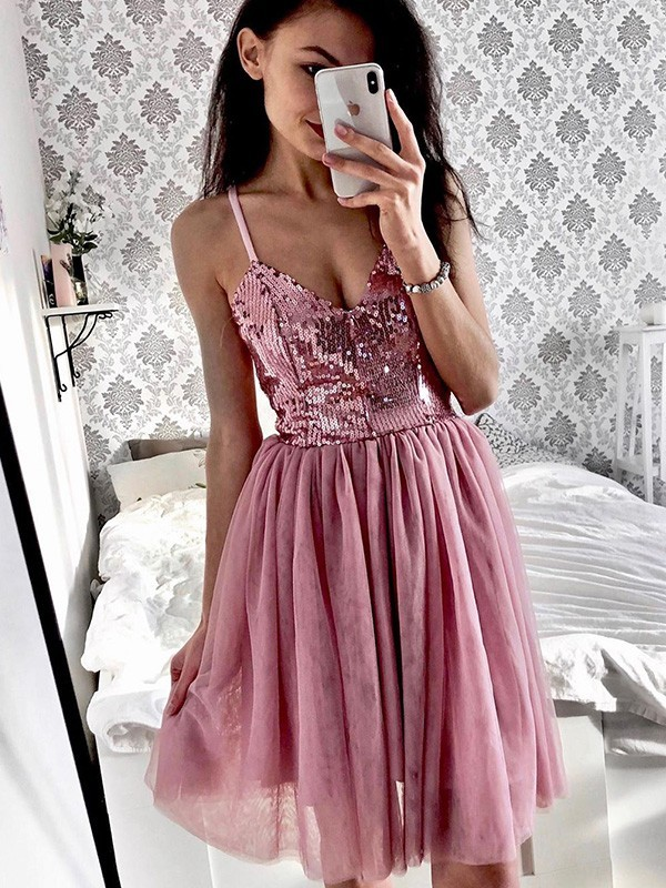 Cheap A-Line Tulle Sequin Spaghetti Straps Sleeveless Short/Mini Homecoming Dress