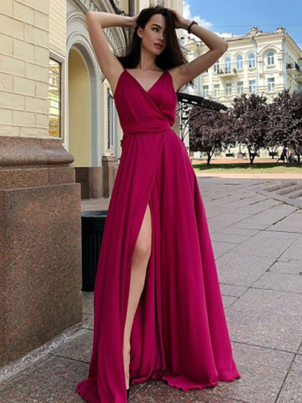 New Arrival A-Line Satin Chiffon Spaghetti Straps Sweep/Brush Train Dress