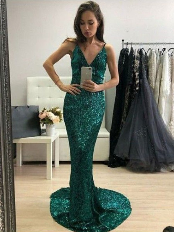 Exquisite Mermaid Sequins V-neck Sweep/Brush Train Sleeveless Dress