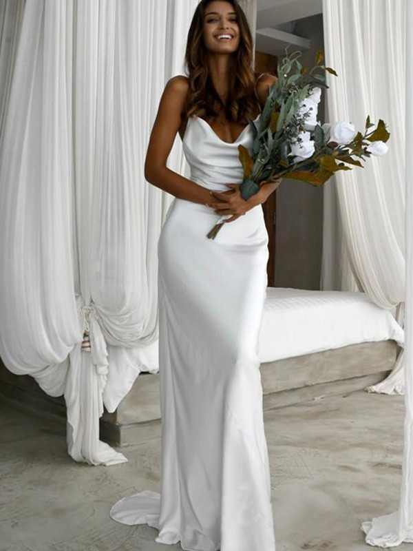 Nice Sheath Silk like Satin Spaghetti Straps Sweep/Brush Train Sleeveless Wedding Dress