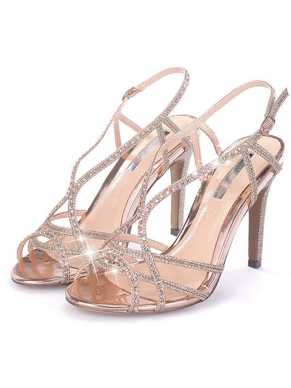 New Women Girls Rhinestone Stiletto Heel Peep Toe Sandals