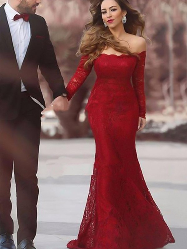 Chic Mermaid Off-the-Shoulder Long Sleeves Floor-Length Lace Dress