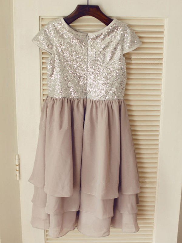 Stylish A-line Jewel Short Sleeves Tea-length Chiffon Flower Girl Dress